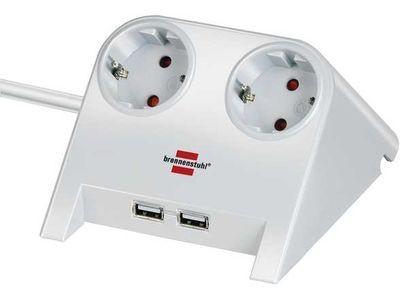 Удлинитель Brennenstuhl Desktop-Power 2 розетки, 2 USB порта 2100 mA; 1,8 метра, кабель H05VV-F 3G1,5; белый (1153520222)