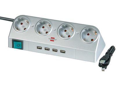 Удлинитель Brennenstuhl Desktop-Power 4 розетки; 4 USB порта; 1,8 метра; кабель H05VV-F 3G1,5; серебристый (1153540134)