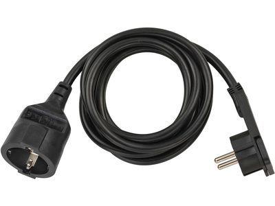 Удлинитель с угловой плоской вилкой Brennenstuhl 2 метра; кабель H05VV-F3G1.5; черный, 1 розетка (1168980020)