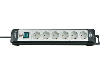 Удлинитель Brennenstuhl Premium-Line с выключателем, 6 розеток; 3 метра, черный/светло-серый, кабель H05VV-F 3G1,5 (1951560100)
