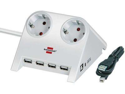 Удлинитель Brennenstuhl Desktop-Power-Plus 2 розетки; 4 USB порта; 1,8 метра; белый; кабель H05VV-F 3G1,5 (1153520122)
