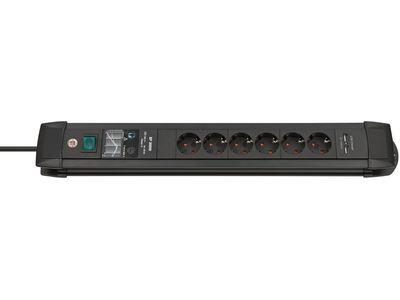 Сетевой фильтр Brennenstuhl Premium-Line 30000 А, 6 розеток + 2 USB порта, 3 метра, черный, кабель H05VV-F 3G1,5 (1156000596)
