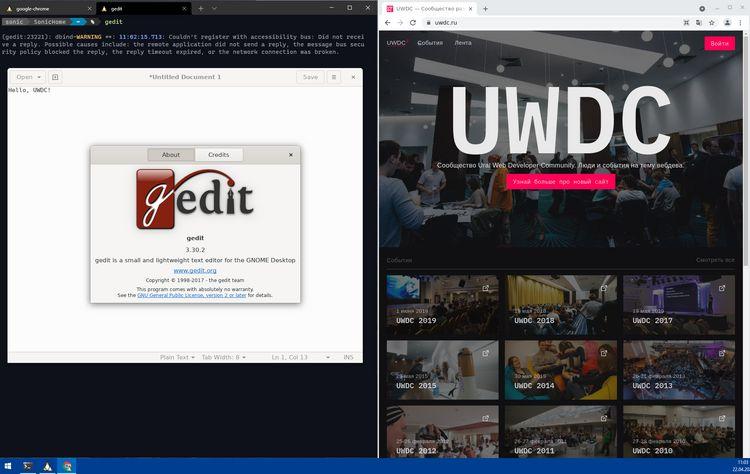 gedit и Chrome запущенные из WSL2 на Windows 10