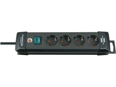 Удлинитель Brennenstuhl Premium-Line с выключателем, 4 розетки; 1,8 метра, черный, кабель H05VV-F 3G1,5 (1951140100)
