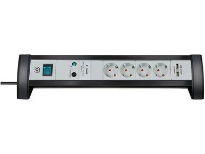 Сетевой фильтр настольный Brennenstuhl Premium-Office-Line 30000 А, 4 розетки + 2 USB порта, 1,8 метра, черный/светло-серый, кабель H05VV-F 3G1,5 (1156350514)