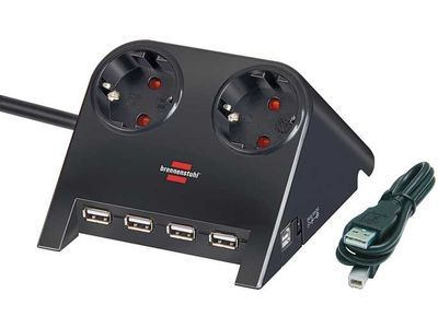 Удлинитель Brennenstuhl Desktop-Power-Plus 2 розетки; 4 USB порта; 1,8 метра; черный; кабель H05VV-F 3G1,5 (1153500122)