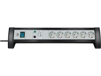 Сетевой фильтр настольный Brennenstuhl Premium-Office-Line 30000 А, 6 розеток, 3 метра, черный/светло-серый, кабель H05VV-F 3G1,5 (1156350416)