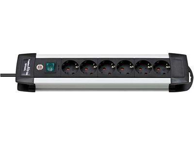 Удлинитель Brennenstuhl Premium-Alu-Line, 6 розеток, 3 метра; серебристый/черный, кабель H05VV-F 3G1,5 (1391000016)